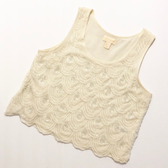 Anthropologie Tops - Anthropologie Lucy & Laurel Cream Beaded Crop Top